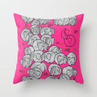 Elephants Never Forget to Party - PINK Throw Pillow