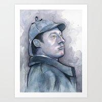 Data as Sherlock Holmes Watercolor Art Print