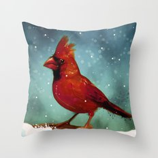 Cardinal snow Throw Pillow