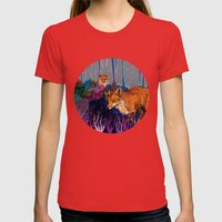 Night Hunt Womens Fitted Tee Red SMALL