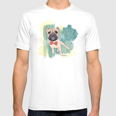 Frenchie Art. Bruno. Mens Fitted Tee SMALL White