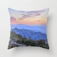 Alayos mountains at sunset Throw Pillow