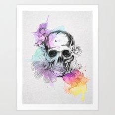 Skull flowers Art Print