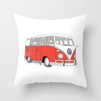 Red Volkswagen Camper Van (Landscape) (Kombi / VW) Throw Pillow