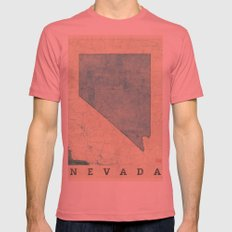 Nevada State Map Blue Vintage Mens Fitted Tee Pomegranate SMALL