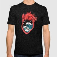Heart Sea Mens Fitted Tee Tri-Black SMALL