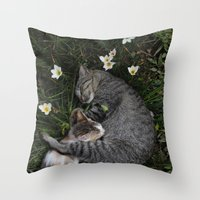 Throw Pillow featuring Sleep [A CAT AND A KITTEN] by David Nuh Omar