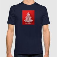 Happy Holidays - Christm… Mens Fitted Tee Navy SMALL