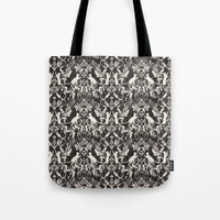 Victorian cat damask Tote Bag