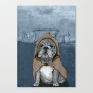 English Bulldog In Stone… Canvas Print