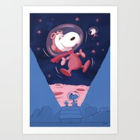 Snoopy on the moon Art Print