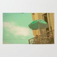 Vintage Turquoise Summer Umbrella (Retro and Vintage Urban Photography)  Rug