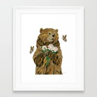 Bear With Flowers And Bu… Framed Art Print