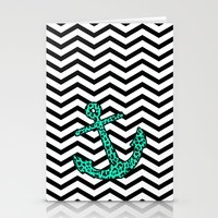 Mint Leopard Chevron Anchor Stationery Cards