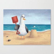 Seagull's Sandcastle Canvas Print