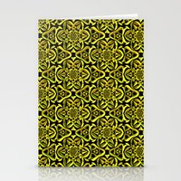 Yellow/Black Flower Pattern Stationery Cards