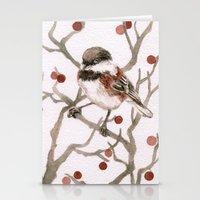Chickadee & Berries Stationery Cards