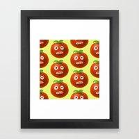 Funny Cartoon Tomato Pattern Framed Art Print