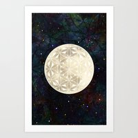 The Flower Of Life Moon … Art Print