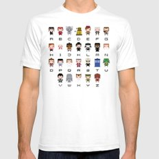 Doctor Who Alphabet SMALL Mens Fitted Tee White