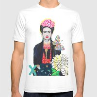 Frida Kahló Mens Fitted Tee White SMALL