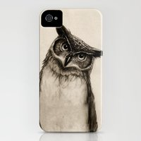 iPhone 4s & iPhone 4 Cases featuring Owl Sketch by Isaiah K. Stephens