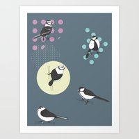 Birds And Dots Art Print