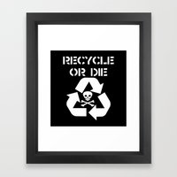 Recycle White Framed Art Print