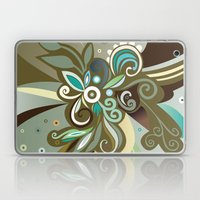 Floral curves of Joy, olive Laptop & iPad Skin