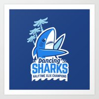 Dancing Sharks Art Print