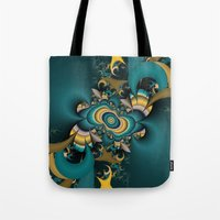 Teal And Yellow Fractal  Tote Bag