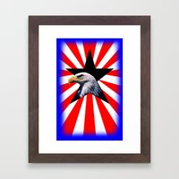 american flag and the Bald eagle Framed Art Print