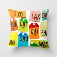 Travel Tags Throw Pillow