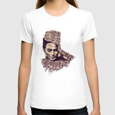 Frida Kahlo Flowers Womens Fitted Tee White MEDIUM