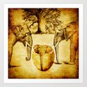 Birth of elephant Art Print