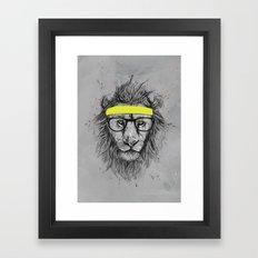 hipster lion Framed Art Print