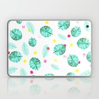 Exotic modern summer green palm tree leaf watercolor pattern brushstrokes Laptop & iPad Skin