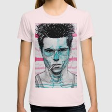 Tyler Durden Womens Fitted Tee Light Pink SMALL