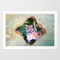 Wild Tiger Digital Paint Art Print