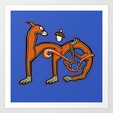 Medieval Squirrel letter M Art Print