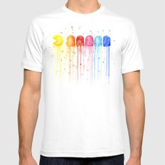 Retro Rainbow Mens Fitted Tee SMALL White