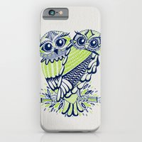iPhone Cases featuring Owls – Navy & Lime by Cat Coquillette
