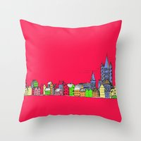 Sketchy Town In Pink Throw Pillow