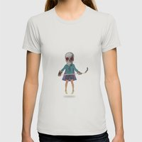 Superhero #9 Womens Fitted Tee Silver SMALL