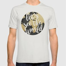 Let's See The World Mens Fitted Tee Silver SMALL