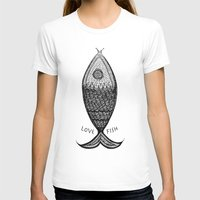 LoveFish Womens Fitted Tee White SMALL