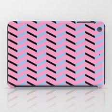 Blue and Black Chevron on Hot Pink iPad Case