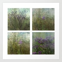 Eastern Tiger Swallowtail Butterfly and Ironweed Wildflower Collage Art Print