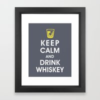 Keep Calm and Drink Whiskey Framed Art Print