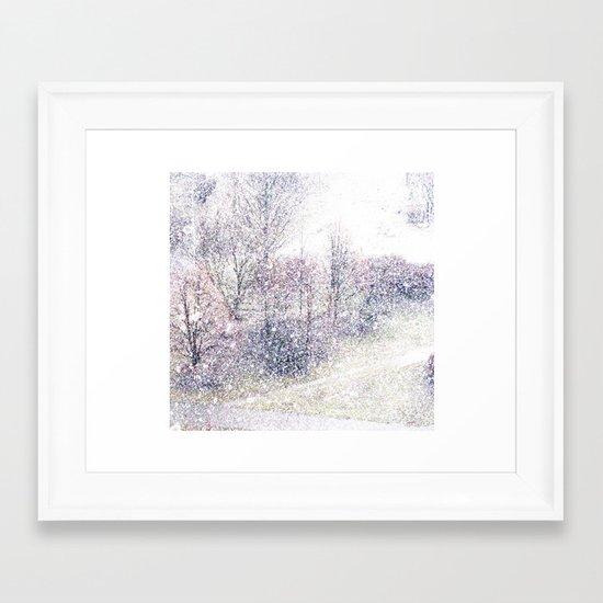 Snow in early fall(2). Framed Art Print